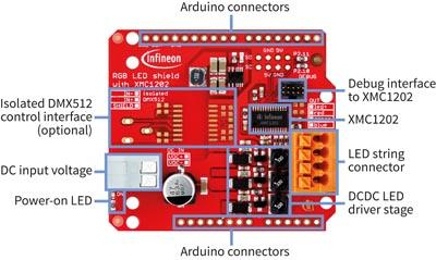 Iluminación RGB y control de motor para Arduino