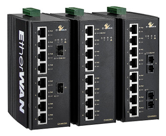 Switches PoE Gigabit para montaje en carril DIN