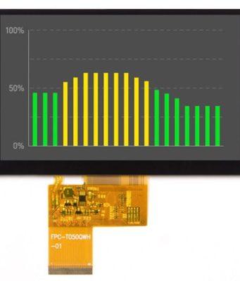 """TFT LCD de 5"""" con elevado ángulo de visión"""
