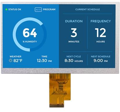 """Display TFT de 7"""" con panel IPS e interfaz LVDS"""